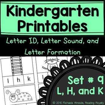 Letter Formation, Letter ID, and Letter Sound Printables (L, H, K)