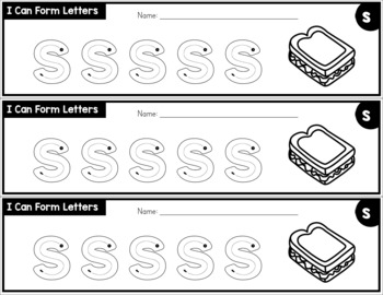 Letter Formation Practice Strips - No Prep