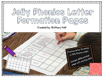 Letter Formation Practice in Jolly Phonics Order