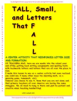 Letter Formation- Tall, Small, and Letters that Fall Activity