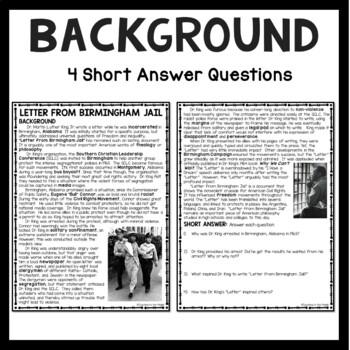 Letter From Birmingham Jail Analysis Worksheet, Martin Luther King Jr.