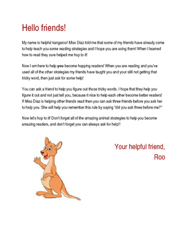 Letter From Helpful Kangaroo (Reading Strategy)