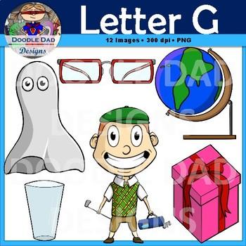 Letter G Clip Art (Golfer, Globe, Gift, Glass, Ghost, Glasses)