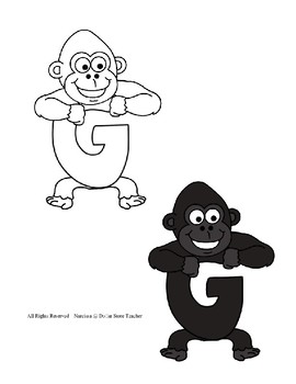 Letter G Craftivity - Gorilla - Zoo Phonics Inspired - Color & BW Versions