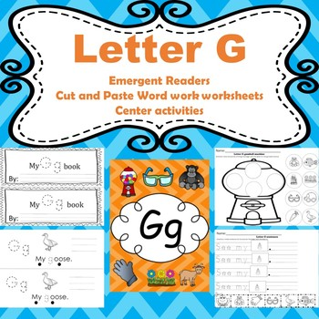 letter g activities emergent readers word work worksheets centers