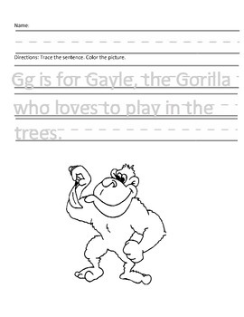 Letter G for Gorilla Handwriting Practice and Questions!