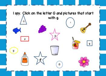 Letter G Interactive Task Cards Boom Cards with Sound Letter of the Week or Day
