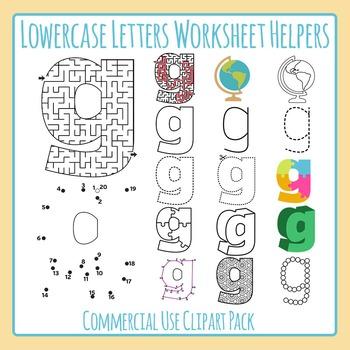 Letter G (Lowercase) Worksheet Helper Clip Art Set For Commercial Use