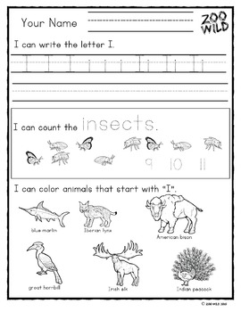 Letters G, H, I, J & K Practice Pages -- Zoo Morning Work -- Homeschool