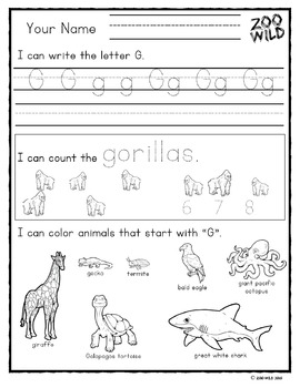 Letters G, H, I, J & K Practice Pages -- Zoo Morning Work