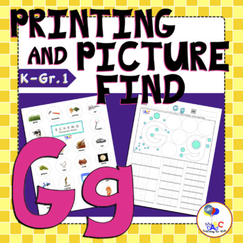 Letter Gg Printing and Picture Find Worksheets