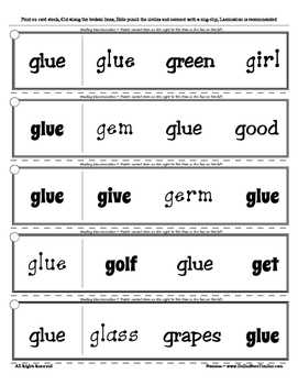 Letter G Reading Discrimination Strips for Fluency and Alphabet Recognition