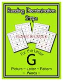 Letter G Reading Discrimination Strips for Fluency and Alp