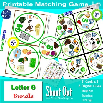 Letter G Sound Shout Out; Spot the Match Game, articulation, recognition, 2 size