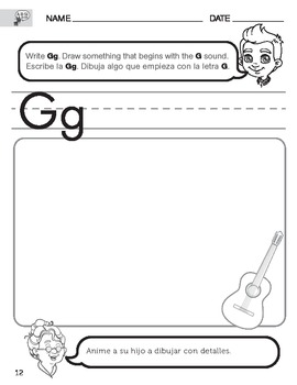 Letter G Sound Worksheet with Instructions Translated into Spanish for Parents