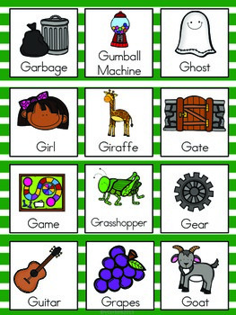 Letter G Vocabulary Cards