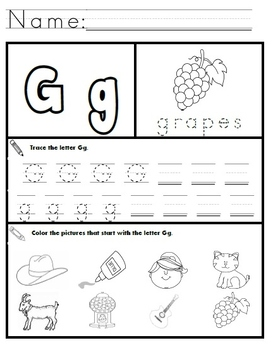 letter g worksheets by kindergarten swag teachers pay teachers. Black Bedroom Furniture Sets. Home Design Ideas