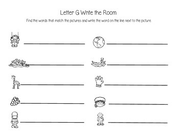 Letter G Write the Room