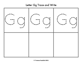 Letter Gg Color, Trace & Write the Room