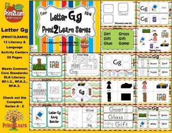 Letter Gg Language & Literacy Activity Center {COMMON CORE