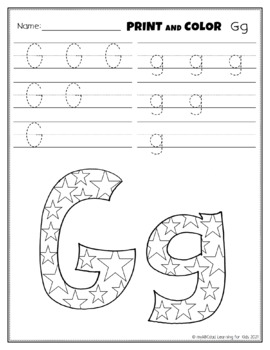 Letter Gg Printing and Pattern Coloring Worksheets