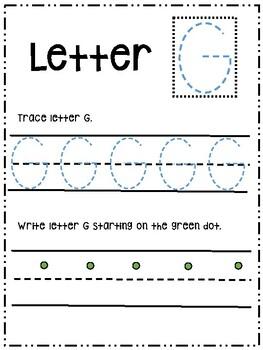 Letter Gg activity worksheet printable trace & write (uppercase)