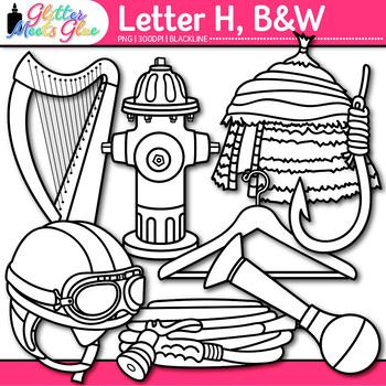 Letter H Alphabet Clip Art {Teach Phonics, Recognition, and Identification} B&W