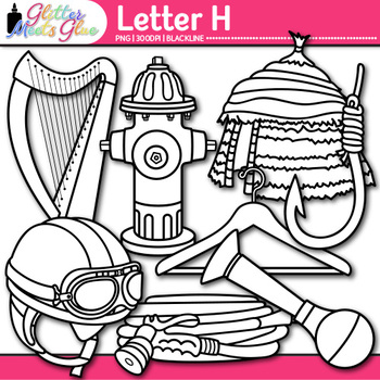 Letter H Alphabet Clip Art | Teach Phonics, Recognition, & Identification | B&W