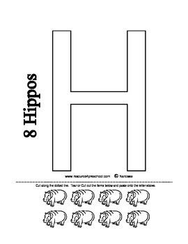 Letter H - BASIC Alphabet Curriculum for Preschool and Kindergarten - Hippo