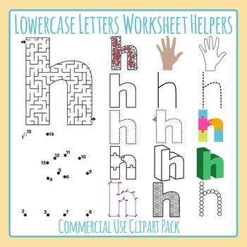 Letter H (Lowercase) Worksheet Helper Clip Art Set For Commercial Use