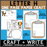 Letter H One Page Paper Crafts - Hot Air Balloon and Horse w/ Writing Activities