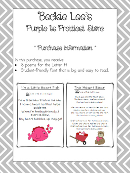 Letter H Poetry Kindergarten and First Grade