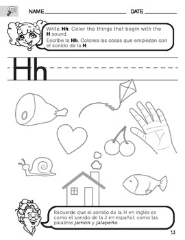 Letter H Sound Worksheet with Instructions translated into Spanish