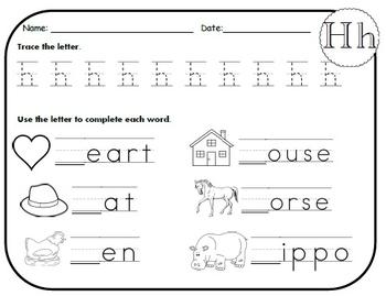 Letter H Worksheets!