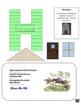 Letter H cutout craft