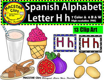 Letter H h Spanish Alphabet Clip Art   Letra Hh Personal and Commercial Use