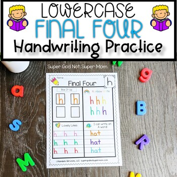 Letter Handwriting Worksheets- Final Four- Lowercase Version