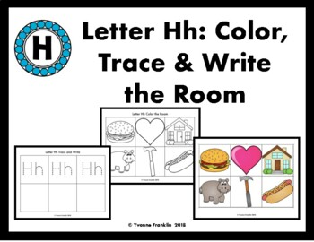 Letter Hh Color, Trace & Write the Room