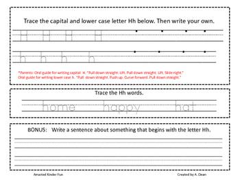Letter Hh Homework Menu