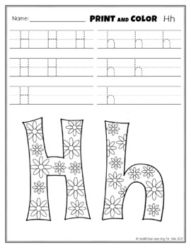 Letter Hh Printing and Pattern Coloring Worksheets
