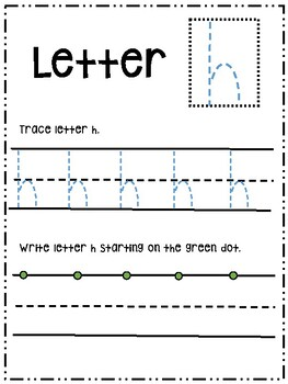 Letter Hh activity worksheet printable trace & write (lowercase)
