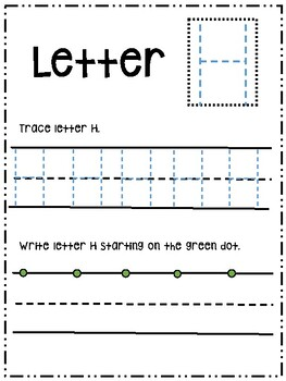 Letter Hh activity worksheet printable trace & write (uppercase)