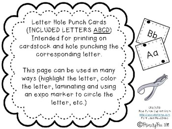 Letter Hole Punch Cards A-D