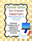 Letter Home to Parents With French Websites and Resources