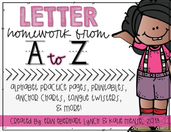 Letter Homework {A to Z} and Tongue Twisters, too!