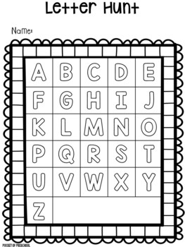 Letter Hunt for Preschool, Pre-K, and Kindergarten