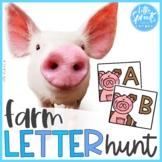 Letter Hunt ● Write the Room Alphabet Activity A-Z ● Farm Theme