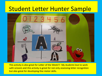 Letter Hunters - A search, say, cut, and color activity for young learners!