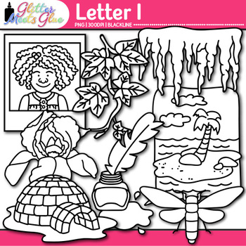 Letter I Alphabet Clip Art {Teach Phonics, Recognition, and Identification} B&W