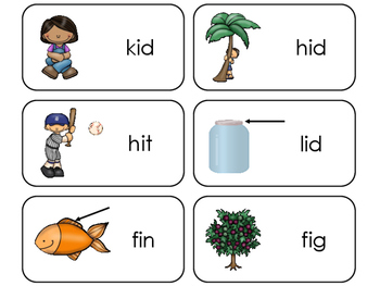 Letter 'I' CVC Picture and Word Printable Flashcards. Preschool-Kindergarten ELA